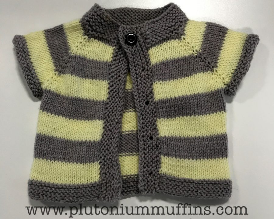 Grellow cardigan for a baby with a grellow nursery