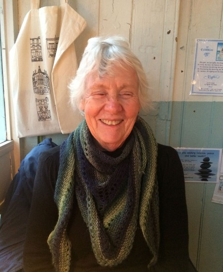 My gorgeous gran wearing the Towersey Shawl I knit a few years ago.