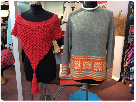 Cashmered samples - isn't the crocodile stitch shawl on the left stunning?