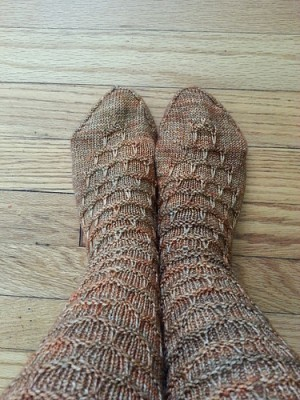 Celebratory Socks all finished and on! Image copyright yarnie52 2014.