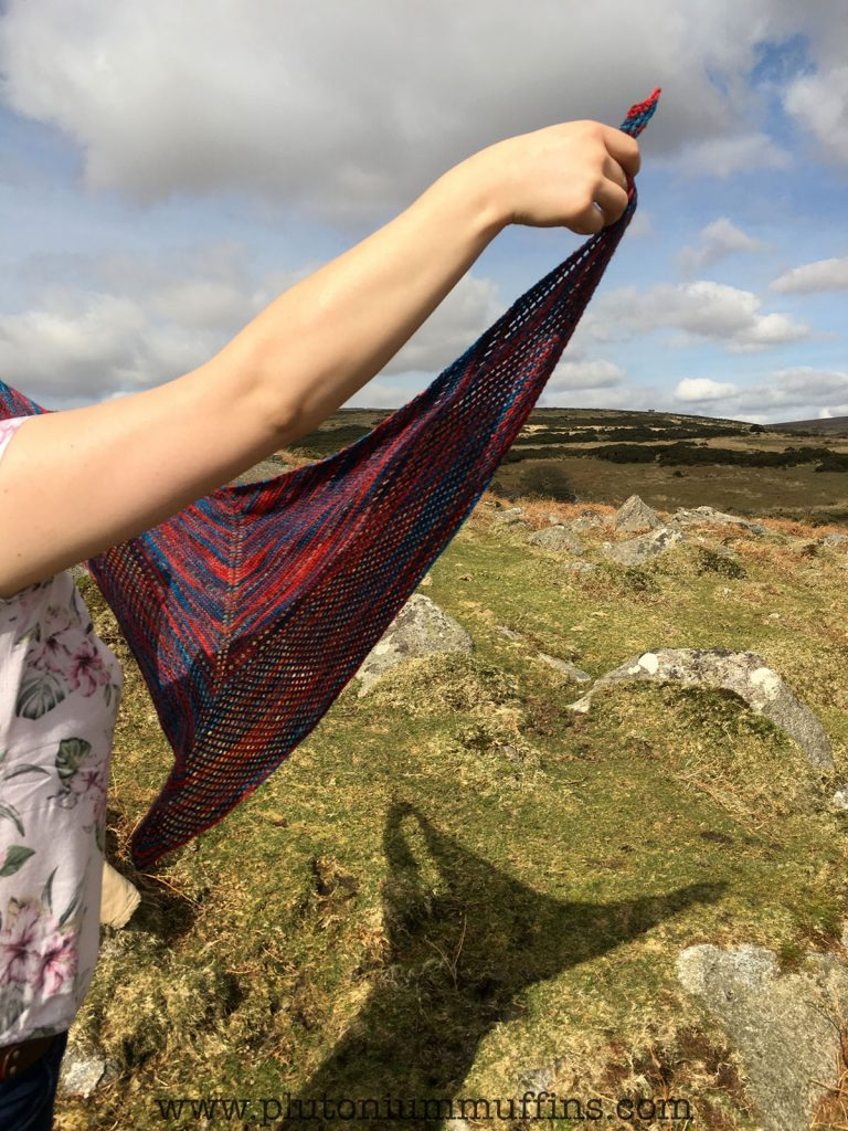 We were trying to get artistic photos of the shawl, but the wind and the sun were at funny angles!