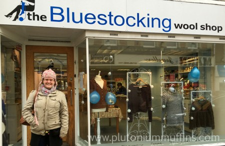 About to enter the Bluestocking Wool Shop on a horrible, rainy Saturday.