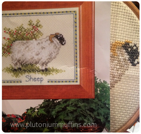 The sheep as shown on the cover of the cross-stitch kit.