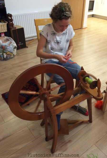 And here Craft Boss has a go at spinning for the first time.