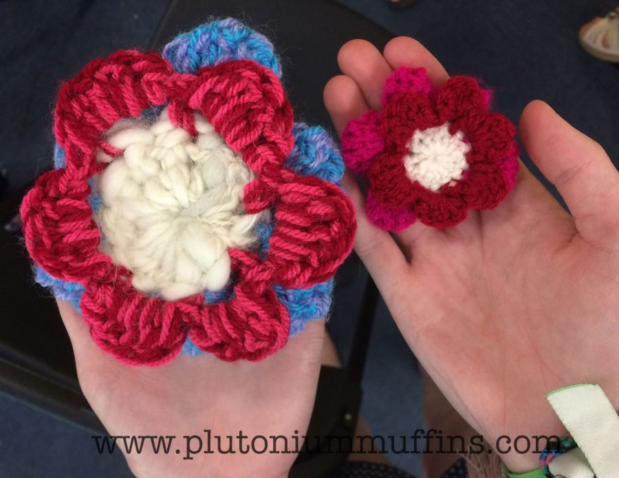 Flowers that were crocheted by my students at Sidmouth Folk Festival.