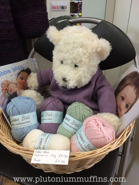 A Debbie Bliss display, loving the teddy bear!