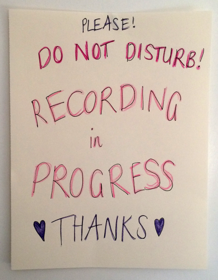 Do not disturb! Recording in progress.