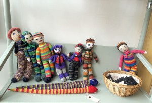 Knitted toys on display, I love the little snakes!