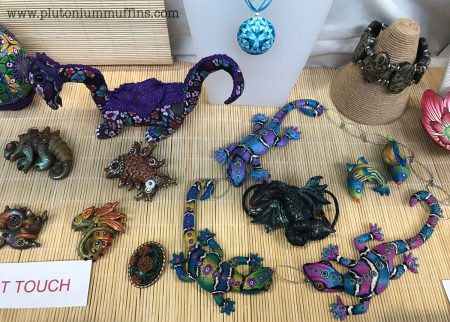 Polymer clay dragons and lizards. Love the colours here.