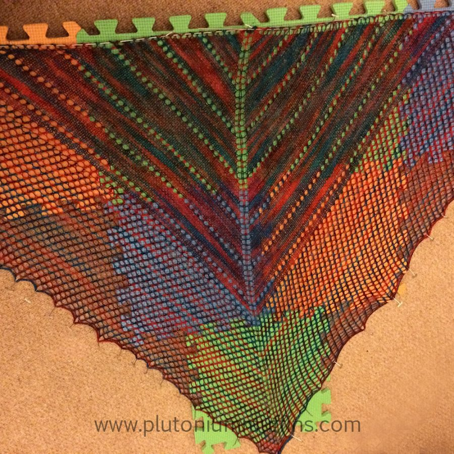 Blocking the shawl.