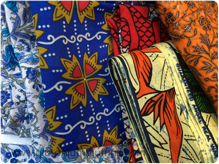 African and Indian fabrics to sew into clothes for me. If I think I can deal with the colours and designs!