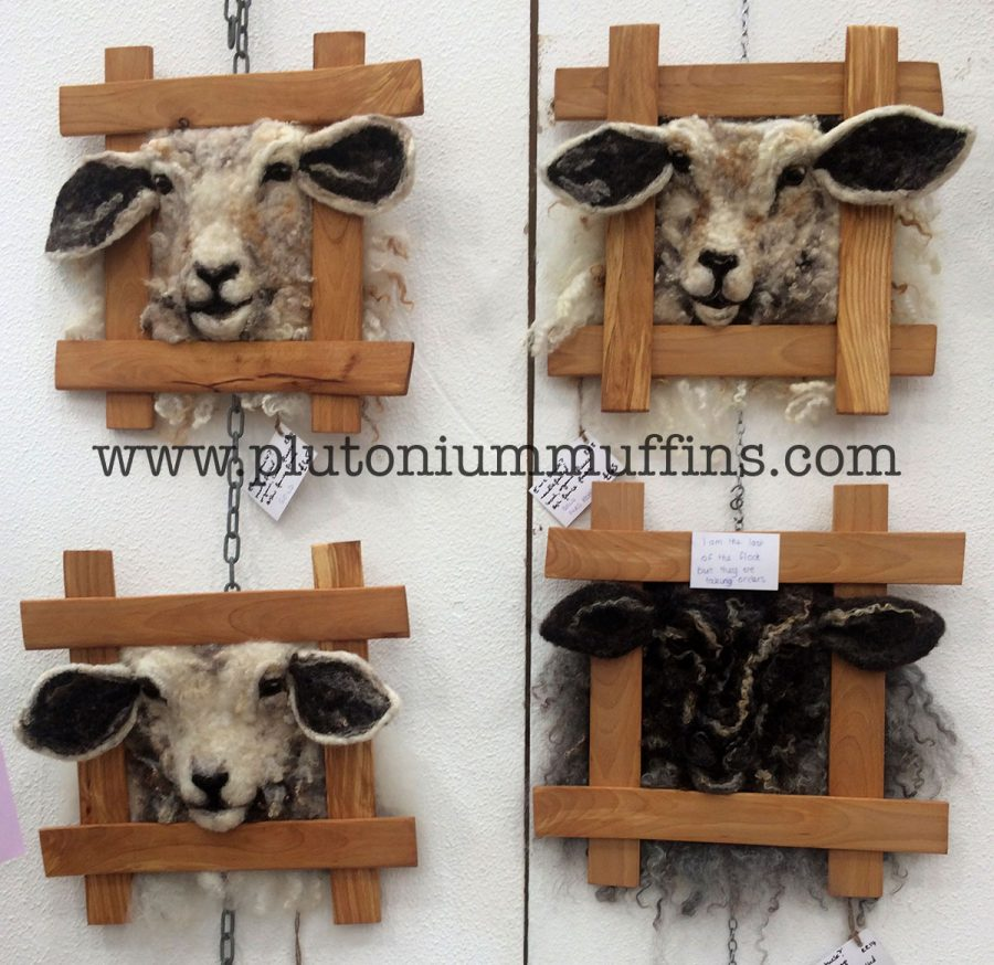 Felted sheep heads at a previous Wonderwool
