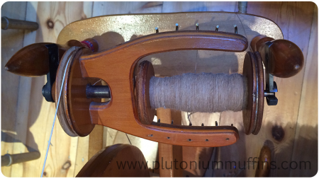 The Bearhouse Alpaca fibre on the last bobbin.