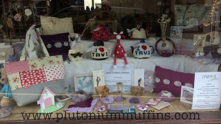 The window display - samples of the local produce available in the shop.