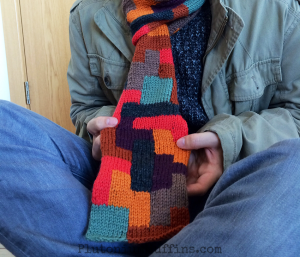 Close up of the TETRIS Scarf wonderment.