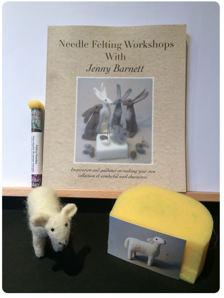 Needle Felting Workshops with Jenny Barnett, and a needle-felted sheep.