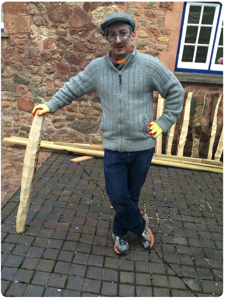John and his recently de-barked morris stick (which turned into a bit of a baseball bat)