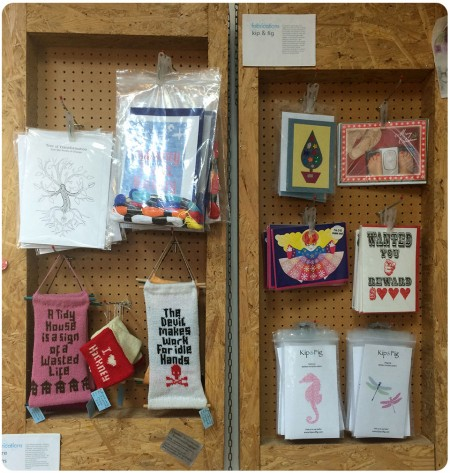 Kip & Fig craft kits, as well as some work from the Craftivist Collective.