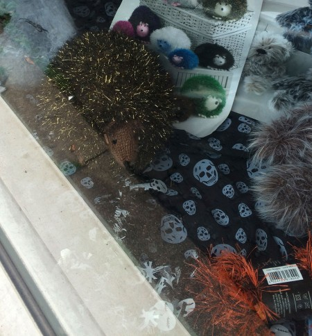 Knitted hedgehog in funky fur, love him!