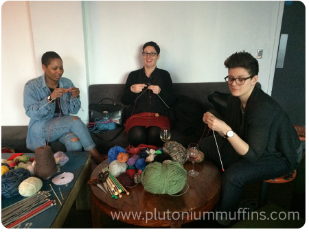 Knitting Tutors - Kareem on the left and the Travel Knitter (Larissa) in the middle.