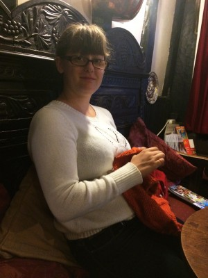 Knitting on the Icon Dress in the pub!