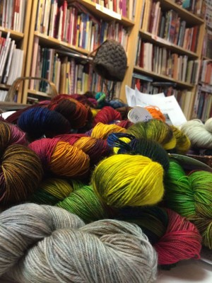 A pile of yarny goodness (I really don't know how JS resisted diving head first into this pile of joy)