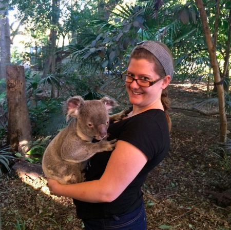 Holding a koala called Maximillian at Lonely Pine Koala Sanctuary.