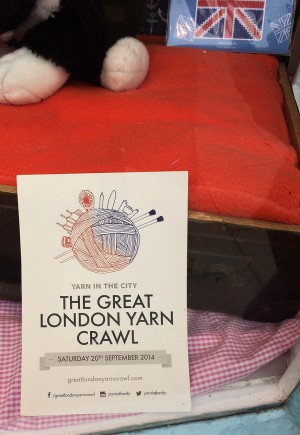 Leaflet for the Great London Yarn Crawl in the window.