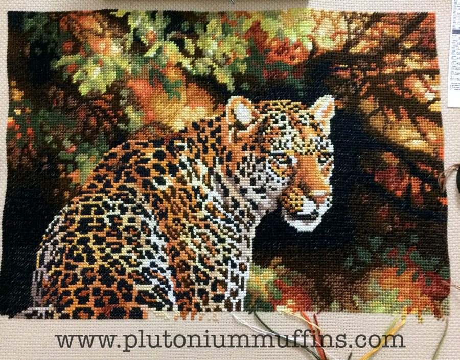 Halfway through the leopard cross stitch.
