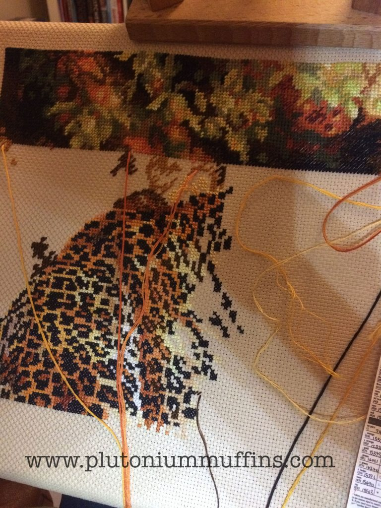 Progress on Leopard's Gaze cross stitch!