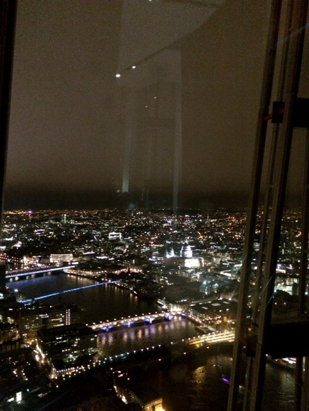 Looking out towards St Paul's Cathedral from the top of the Shard.