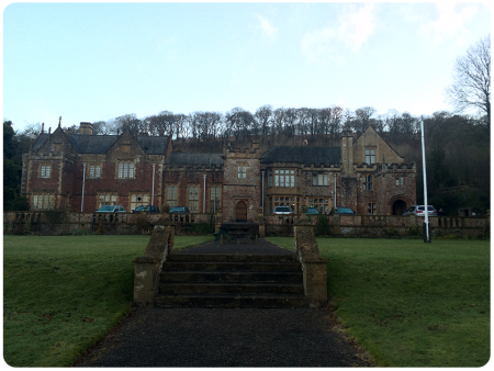 Halsway Manor, just as the sun is rising on a Tuesday morning.