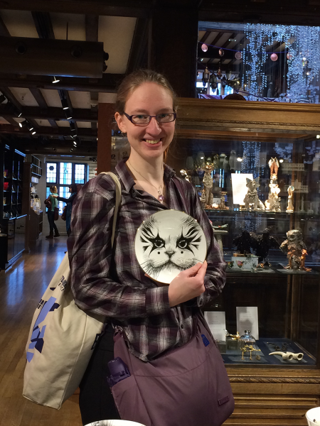 Melanie and a cat plate :)