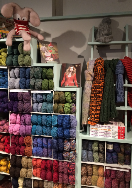 Beautiful yarn, scarves in Big Wool and a gorgeous soft cuddly.