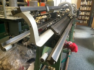 Industrial knitting machine in the finest gauge.