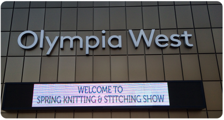 Entering the Spring Knitting and Stitching Show from the side-entrance (smaller queues, FYI!)