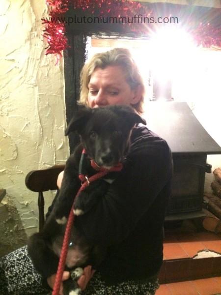 Cuddles with mum in the pub.