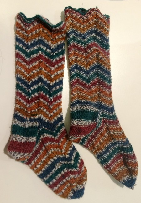 The socks side by side - on the right is inside out, which is totally wearable!