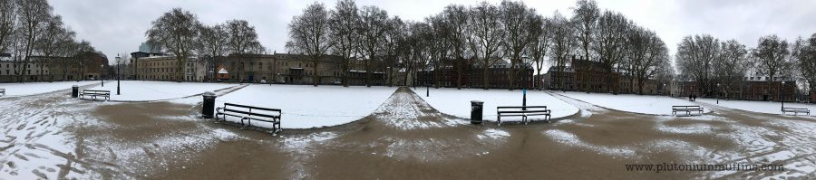 Queen Square in the snow.