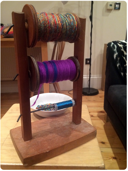 Ready to start plying - nylon, merino and thread.