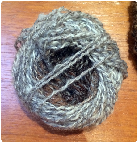 Yarn spun on spindle and plied on wheel.