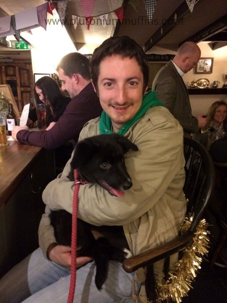 Enjoying John cuddles in the pub.
