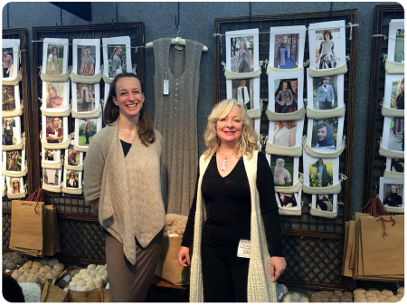 The beautiful Purl Alpaca ladies, with the Icon Dress that inspired me behind them.