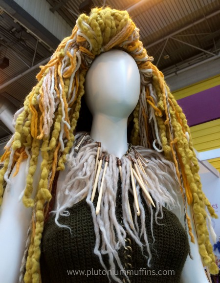 Her necklace was beautiful, made of knitting needles and crochet hooks!