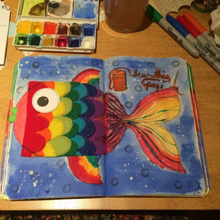 """Sew This Page - Rainbow Trout! From """"Wreck This Journal"""""""