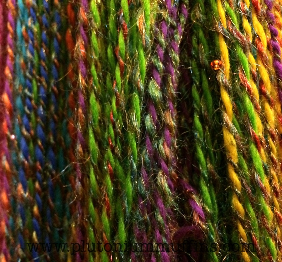 Close up of the rainbow yarn