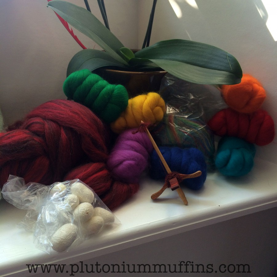 Raw materials ready to be spun into my yarn.