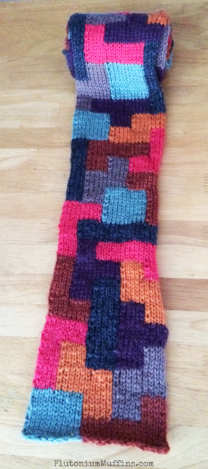Rolled up Tetris Scarf.