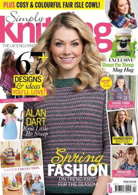 The front cover of Simply Knitting Issue 131.