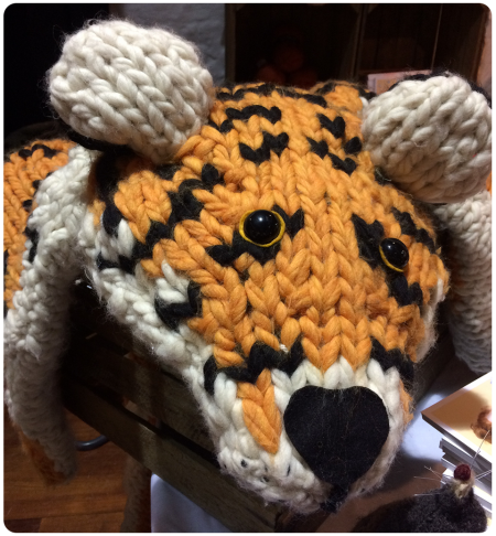 A gigantic tiger which you can knit using the pattern in Sincerely Louise's book.